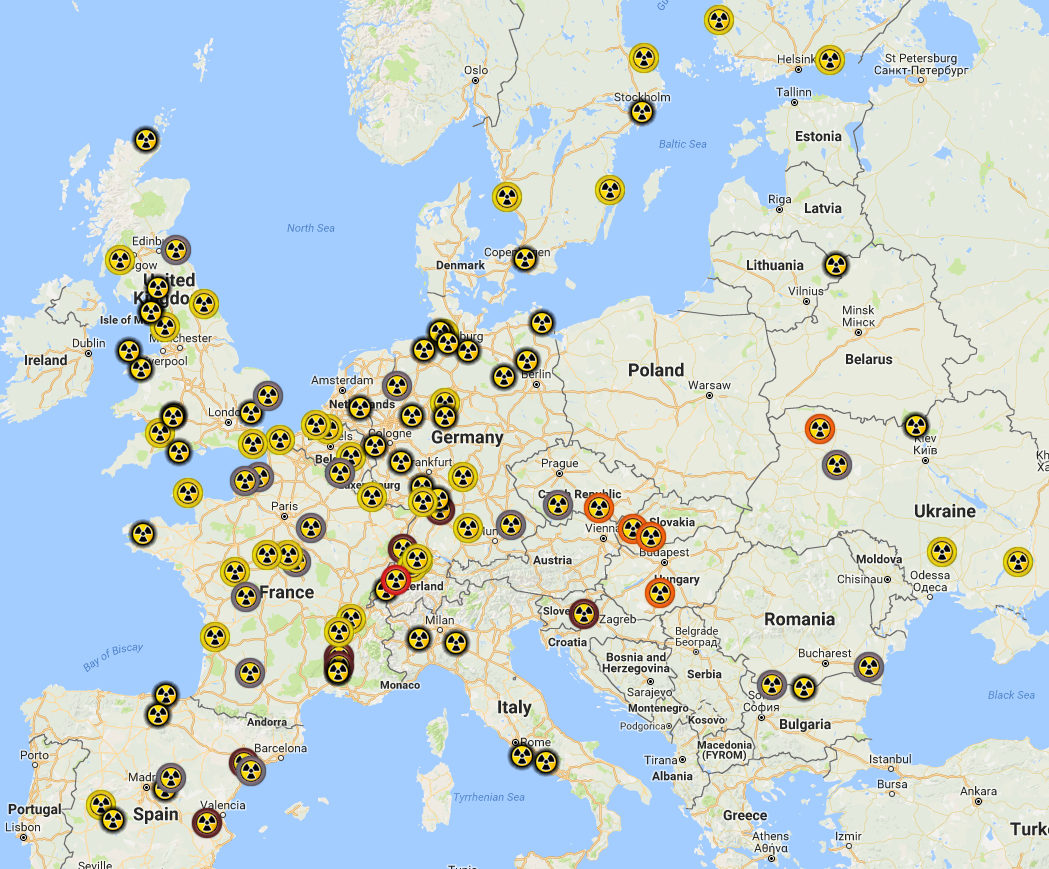 EU Nuclear Reactor Sites and recent problems